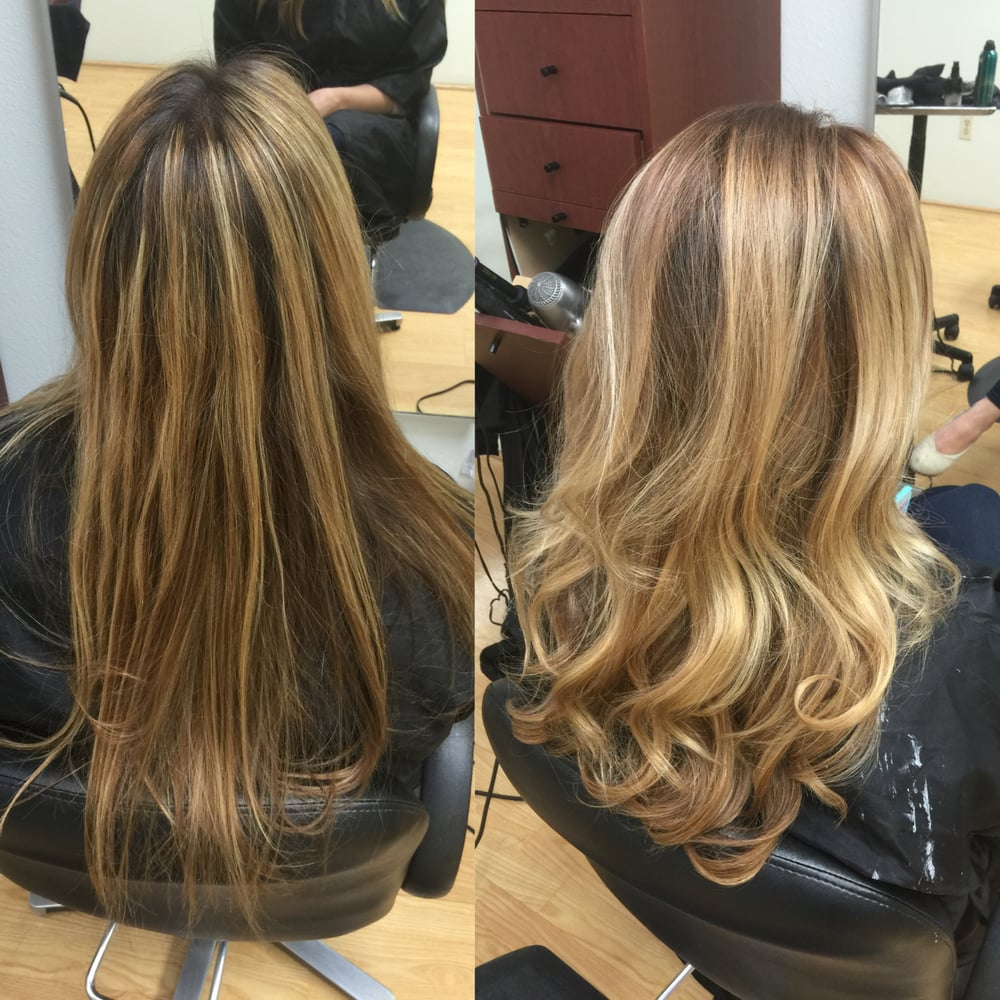 Color Correction Stripe Blonde Foil Highlights With Natural Dark