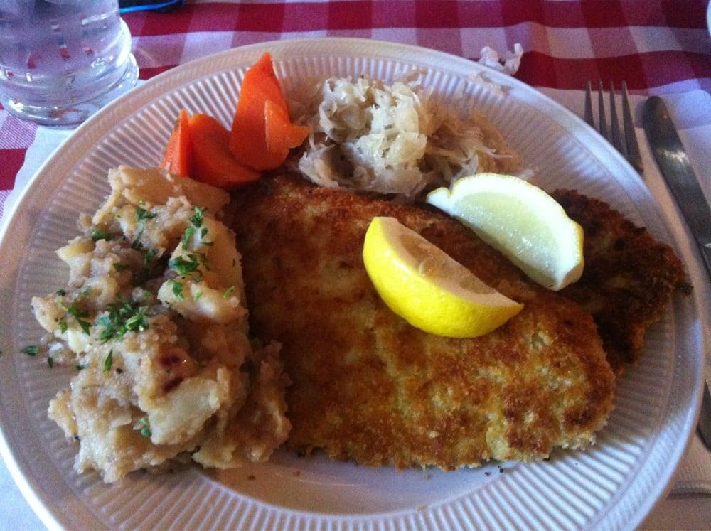 German Schnitzel With Potato Salad Carrots Sauerkaut Yelp