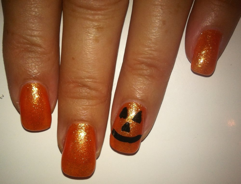 Jack O\' Lantern nails. Love that color! Thanks Shirley! - Yelp