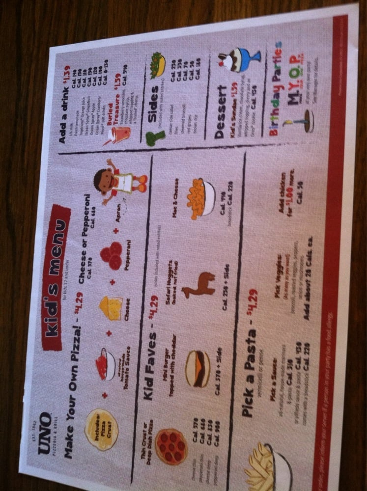 kid friendly menu including make your own pizza comes with kids