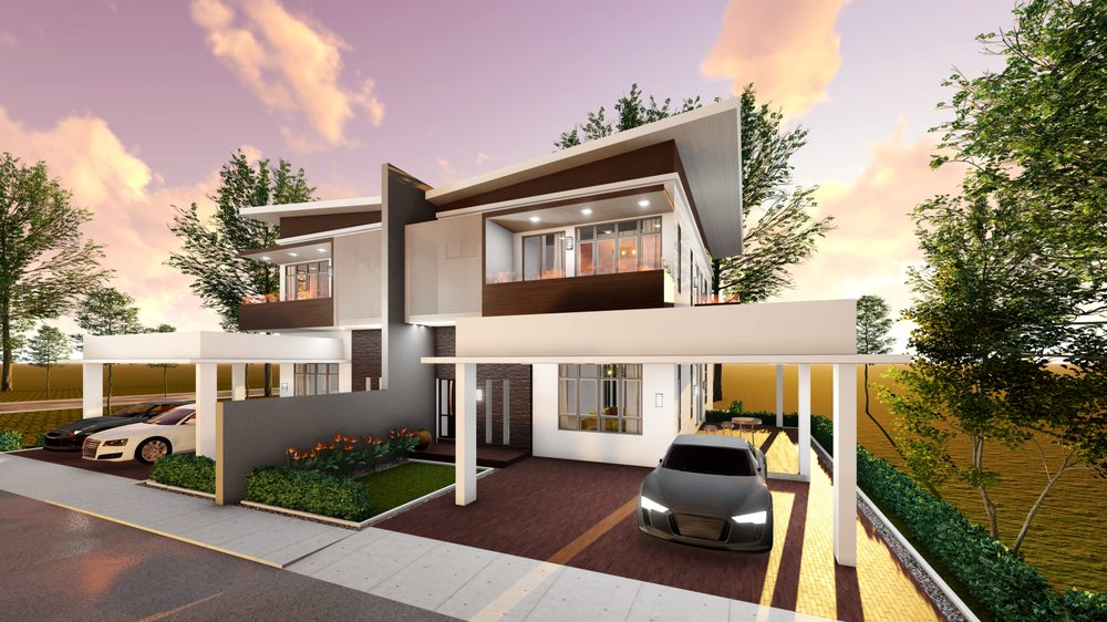 Double Storey Semi Detached House Kuching Timber Land Group Of