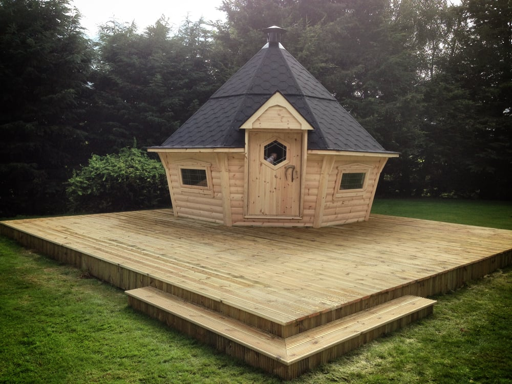 Forest log cabins summerhouses get quote home for Garden huts for sale