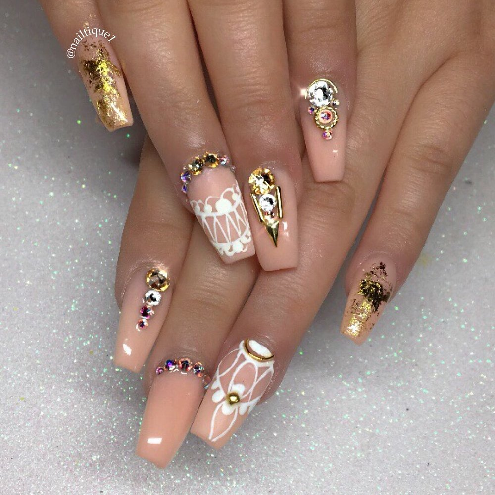 Acrylic Nails With Rhinestones Chameleon Flakes And Hand Drawn