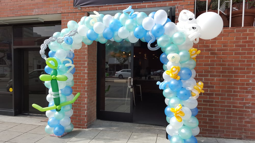 Sea food themed decorations for grand opening balloon