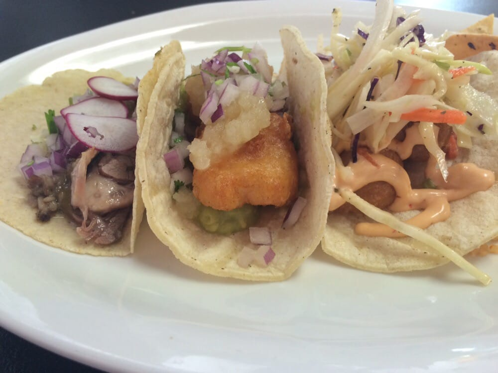 L to r beef tongue taco fish tacos and shrimp taco yelp for Fish tacos near me