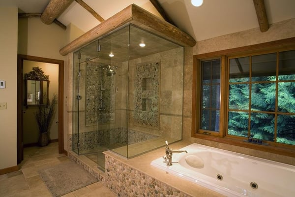 Steam Shower With Natural Stone Glass And Pebble Accents