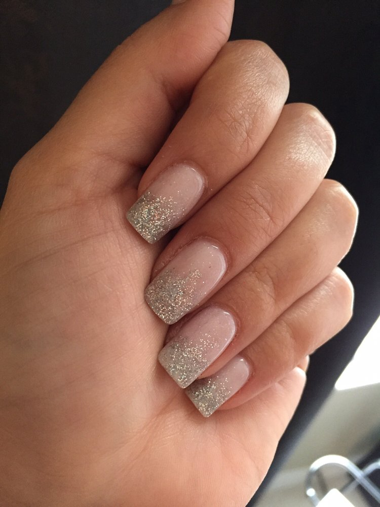 Ombré dipped nails , white and silver by Zidon. - Yelp