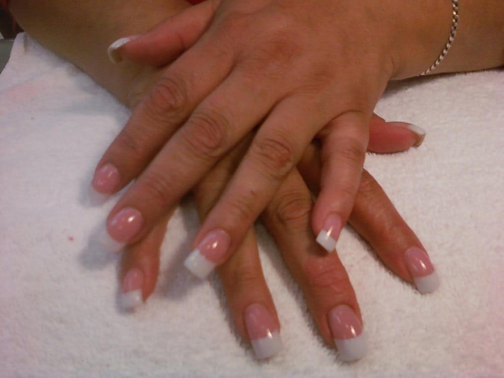 Pink & White Acrylic Nails w/Gel top coat - Yelp
