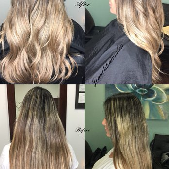 Before And After Color Correction Blended Balayage Ombre