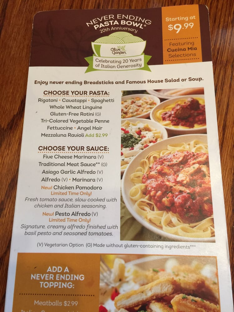 Menu For Olive Garden: Never Ending Pasta Bowl Menu