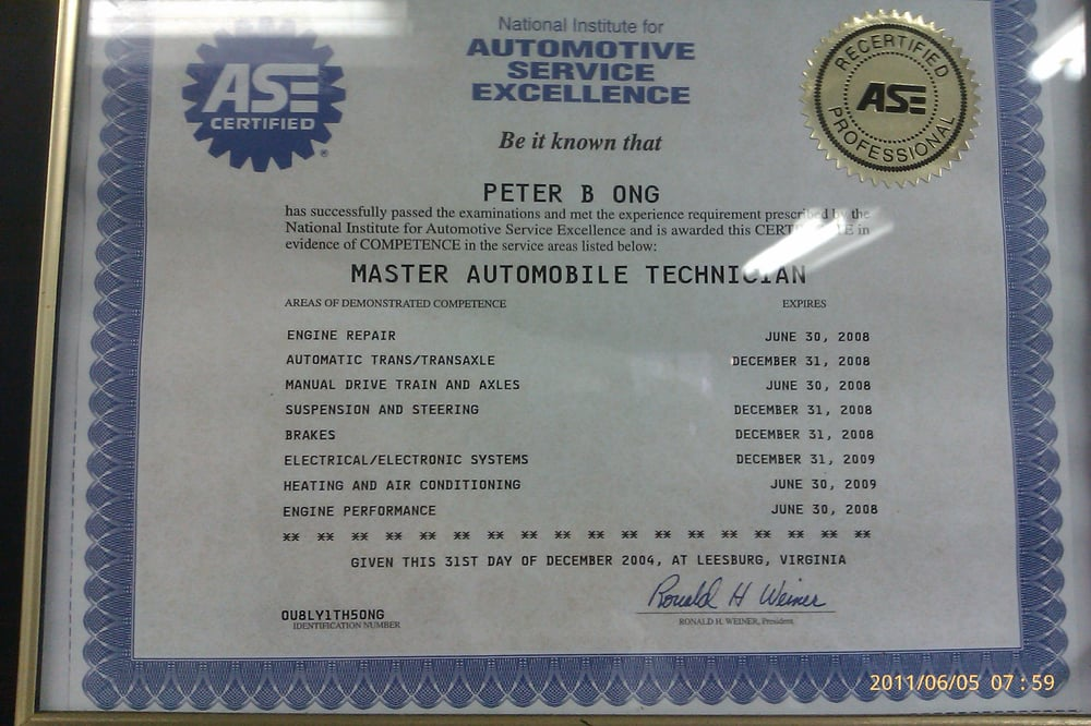 Ase Certified Master Technician Peter Ong Yelp