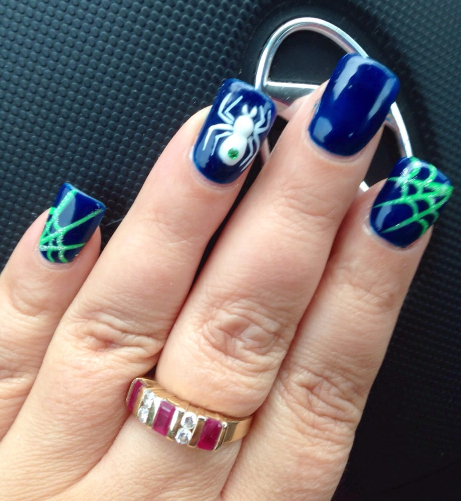 Halloween nails with seahawk colors! - Yelp