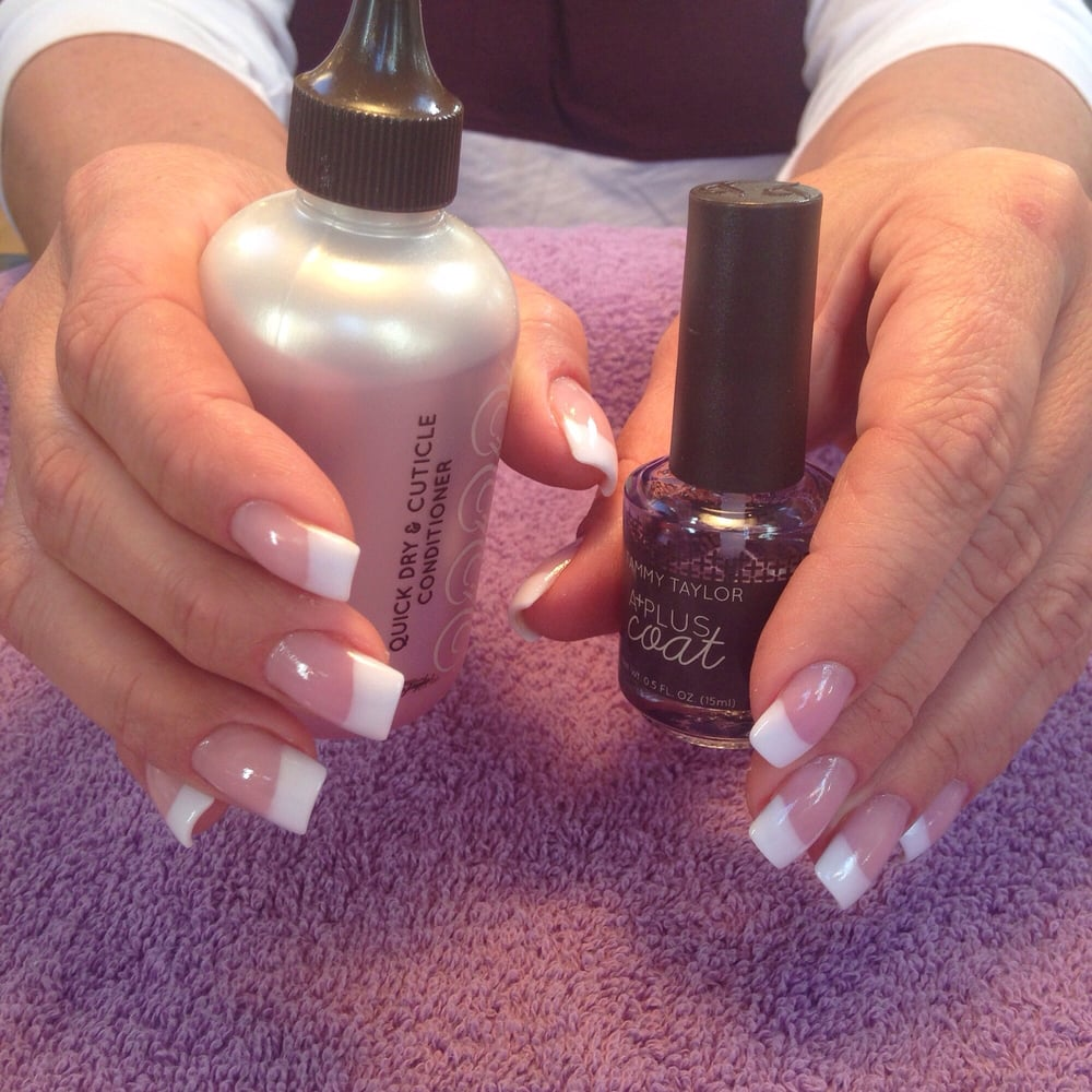 Pink and white acrylics using tammy taylor acrylic system for Euphoria nail salon