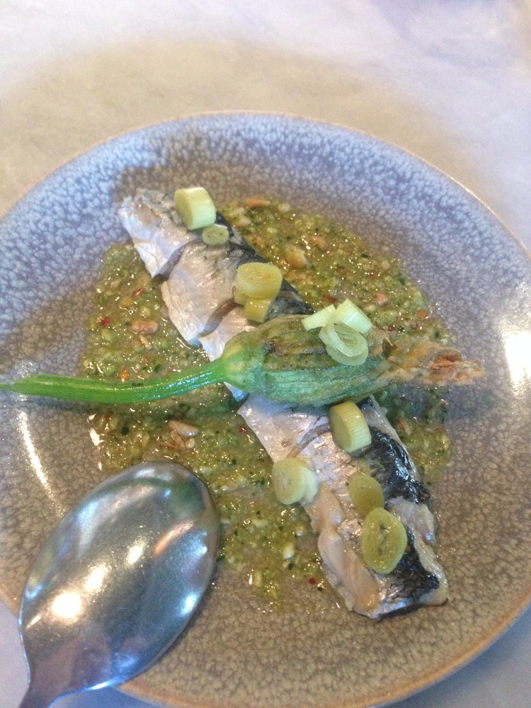 Herring Special With A Squash Blossom The Pesto Sauce Was
