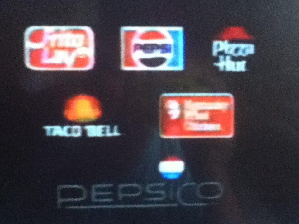 the old pizza hut logo with the pepsi  frito lay  taco