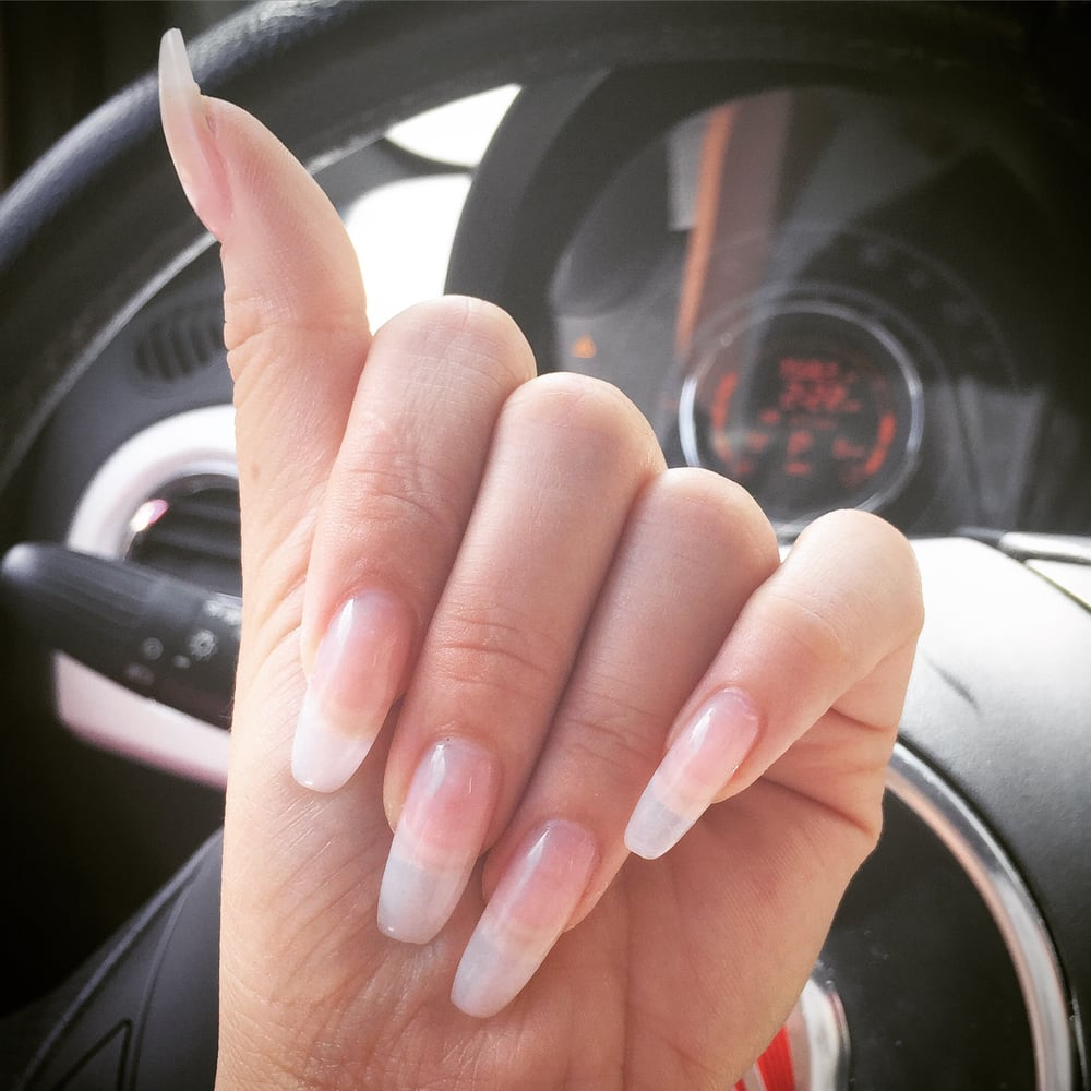 Full set with clear shellac polish. I love how clean and natural it ...