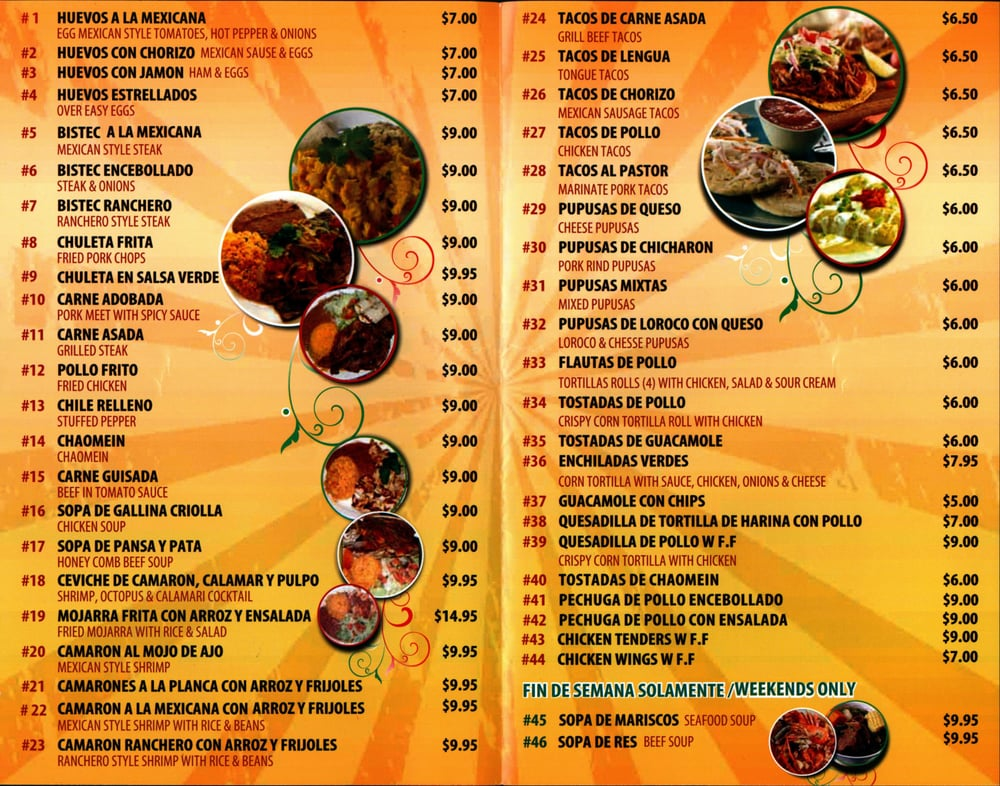 El Mariachi Restaurant Trenton Nj Menu