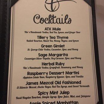 Tillery Kitchen And Bar Menu