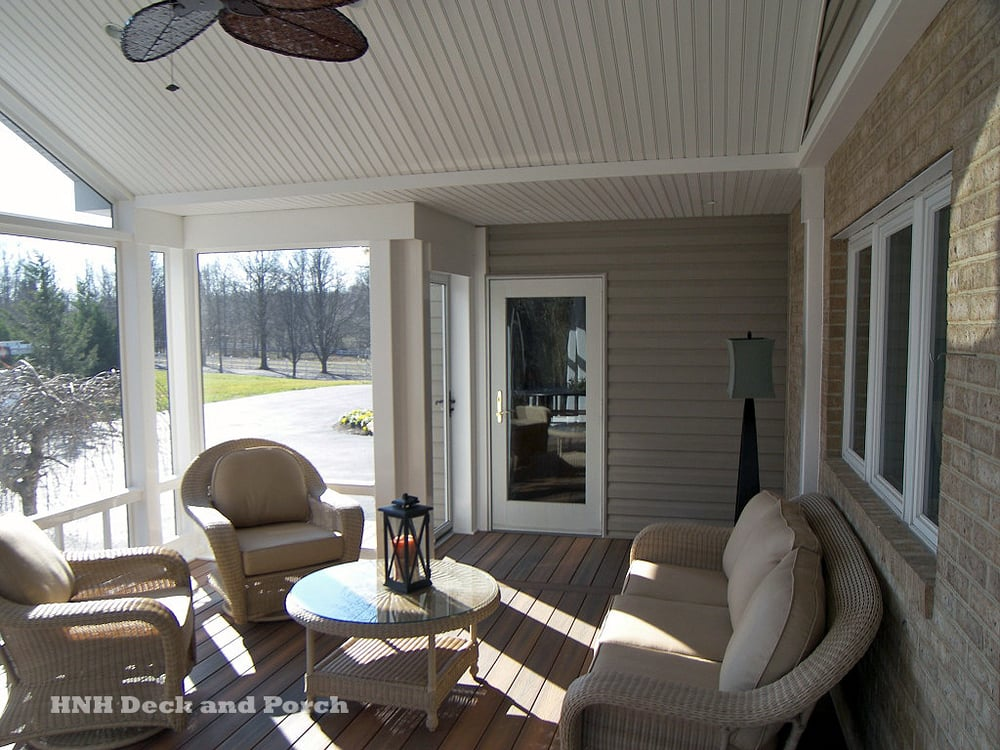 Screened Porch With Fiberon Ipe Composite Flooring And