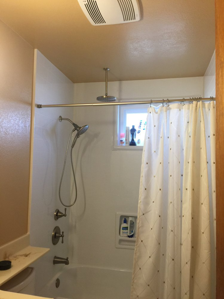 Guest bathroom with new paint, acrylic bath walls, acrylic tub, and ...