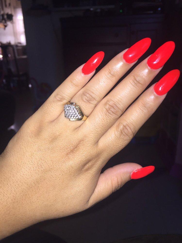 Crimson red gel almond nails - Yelp