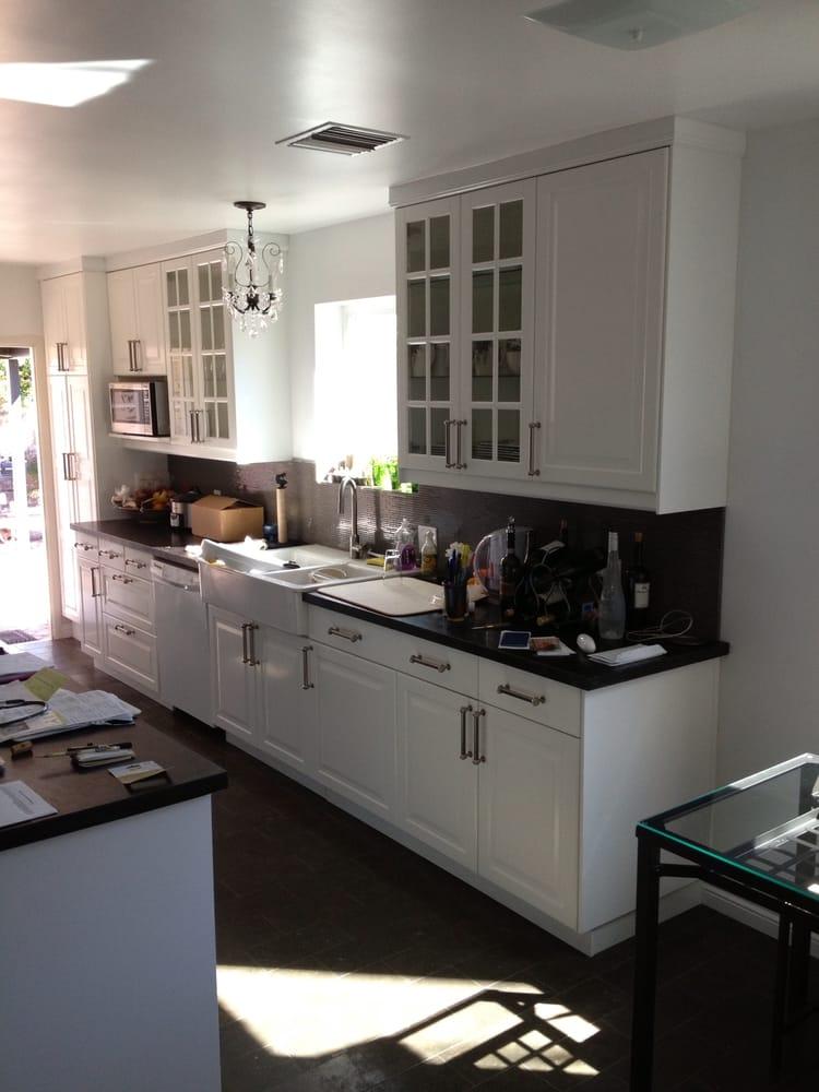ikea cabinets lidingo white galley kitchen yelp