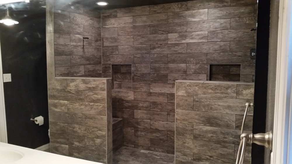 Wood Look Tile Installed In A Walk In Shower Yelp