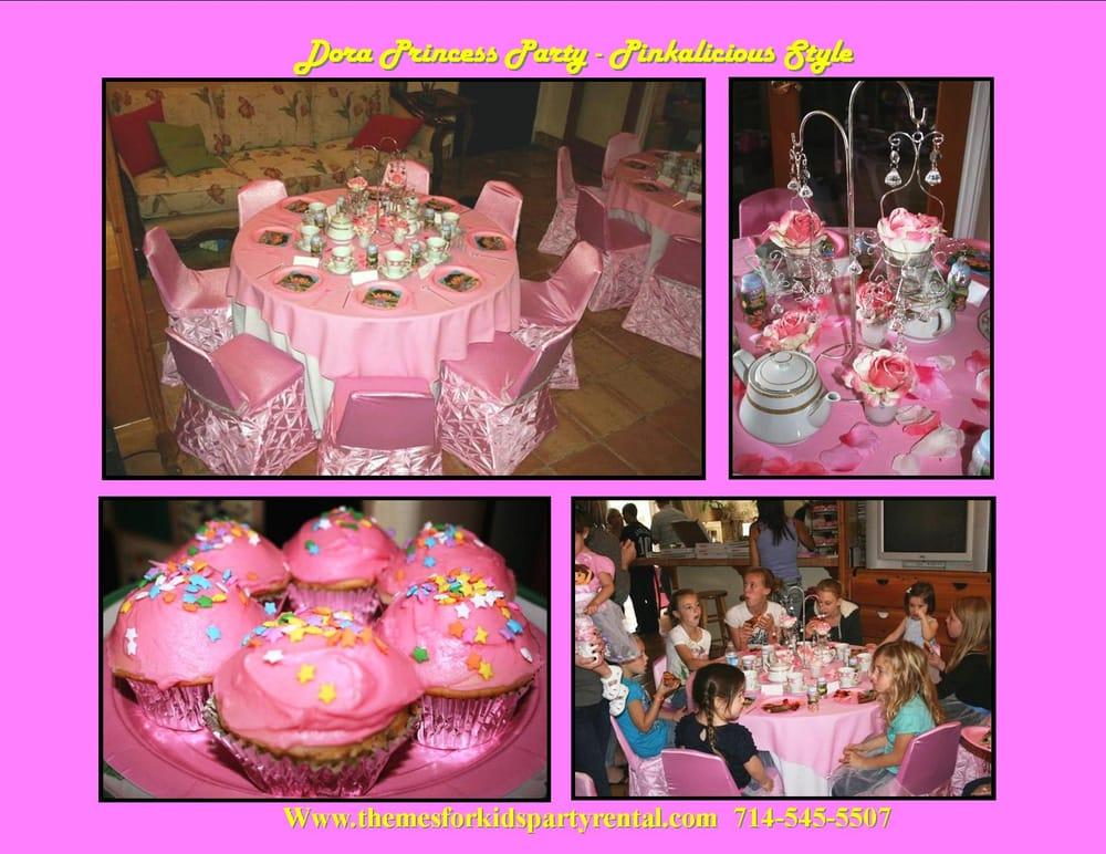 princess theme birthday party table set up decoration ideas ...