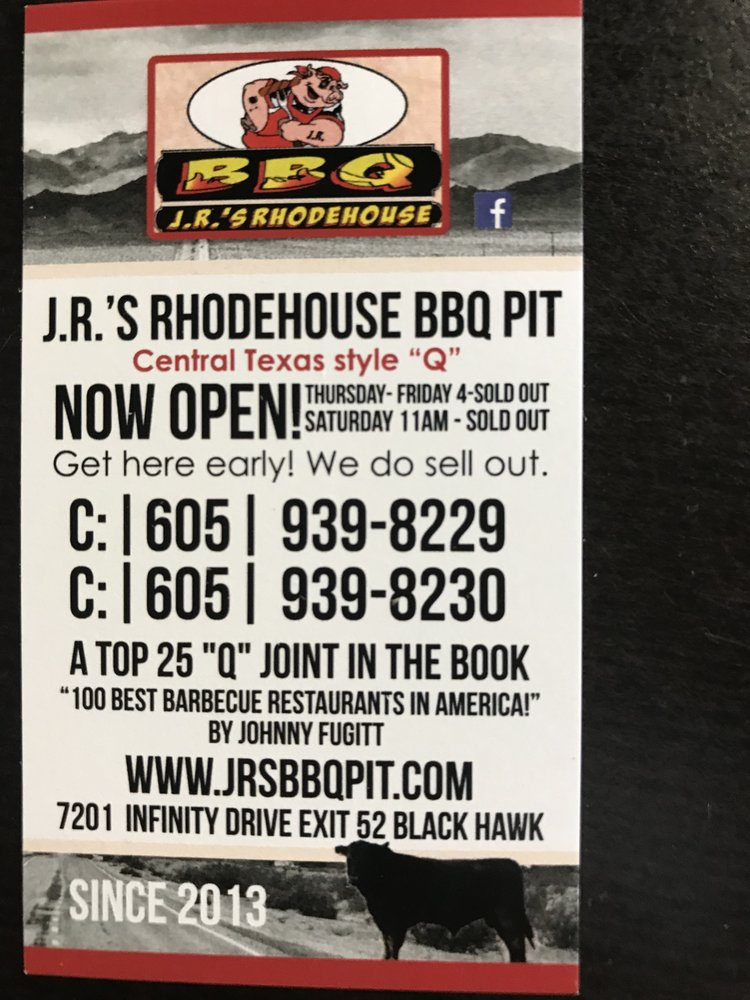 J.R.'s Rhodehouse BBQ PIT: 7201 Infinity Dr, Summerset, SD