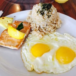 """Medium well done salmon with brown rice (furikaki),"""" and sunny side up ..."""
