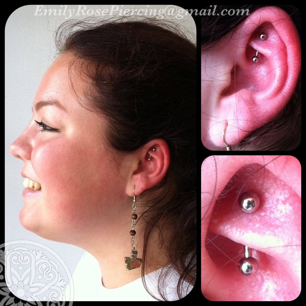 Rook piercing with and industrial strength curved barbell for Tattoo shops in beaverton