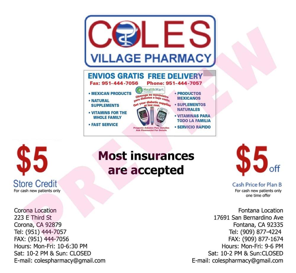 Coles Village Pharmacy - Drugstores - 17691 San Bernardino Ave, Fontana, CA - Phone Number - Yelp