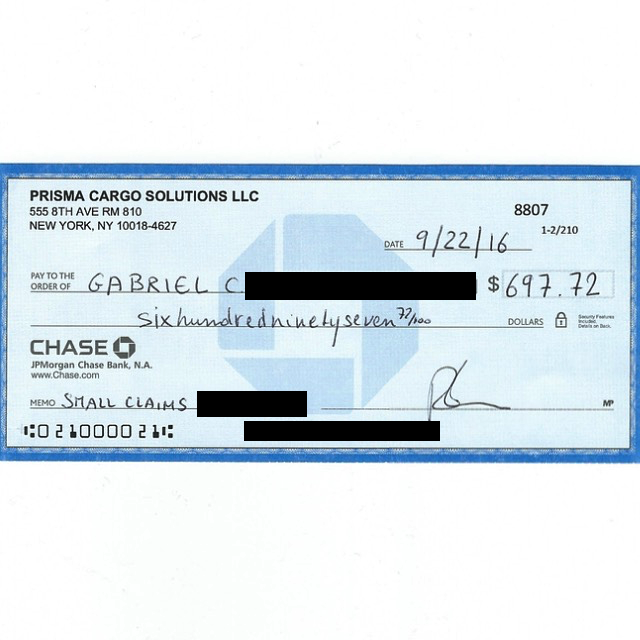Check from Prisma to pay my small claims judgment against them after