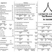 Lemongrass Thai Restaurant Guam Menu