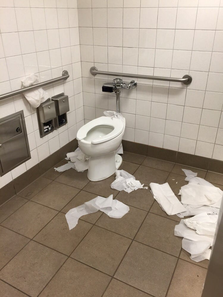 Ladies Accessible Bathroom Stall No Toilet Paper Disgusting Mess Yelp