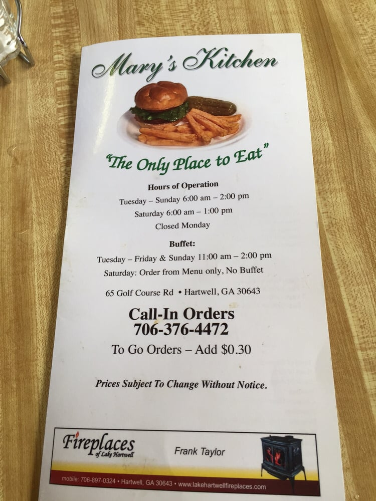 Mary's Kitchen: 65 Golf Course Rd, Hartwell, GA