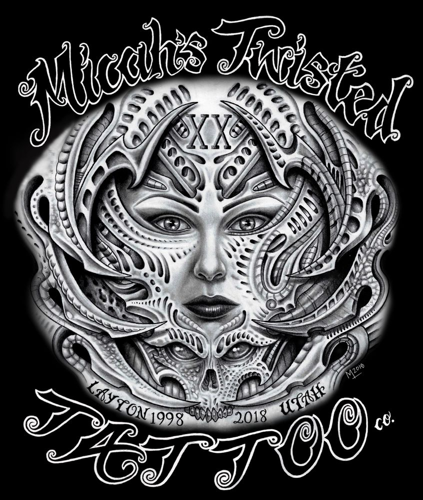 Micah S Twisted Tattoo Co Est 1998 20th Anniversary Design Drawn