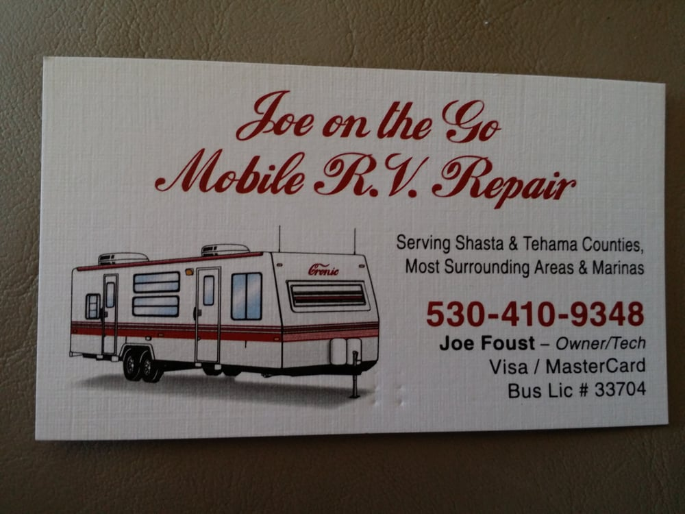 His business card yelp photo of joe on the go mobile rv repair redding ca united states colourmoves
