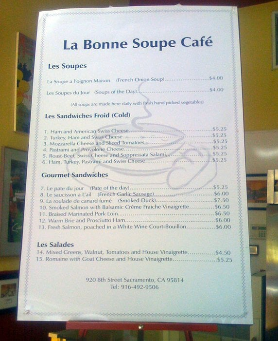 La Bonne Soupe Cafe Sacramento Ca Menu