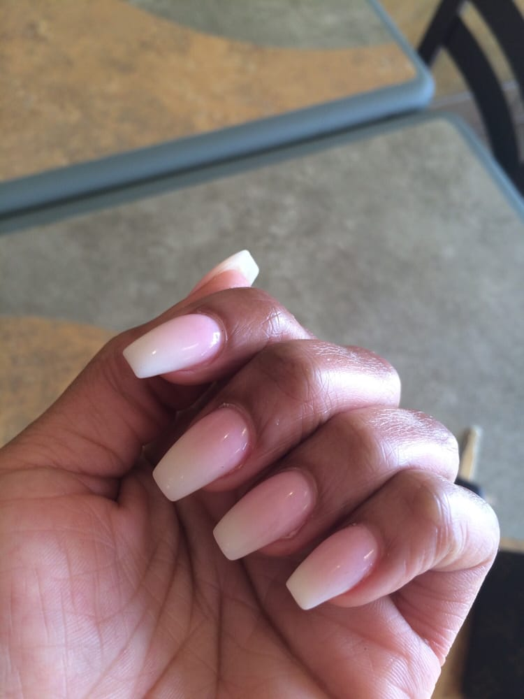 Perfect! Coffin Ombré nails. Expensive for a fill in but you get ...