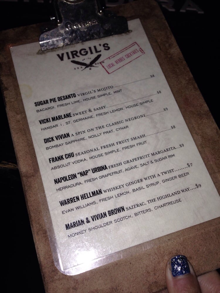 Virgil S Sea Room Menu