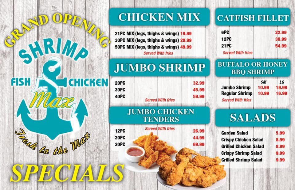Shrimp Max Fish And Chicken Michigan City: 104 W Hwy 20, Michigan City, IN