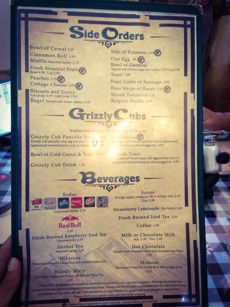 Grizzly Cafe Wrightwood Menu