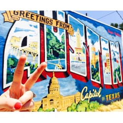 Greetings from austin postcard mural 62 photos 37 for Austin mural location