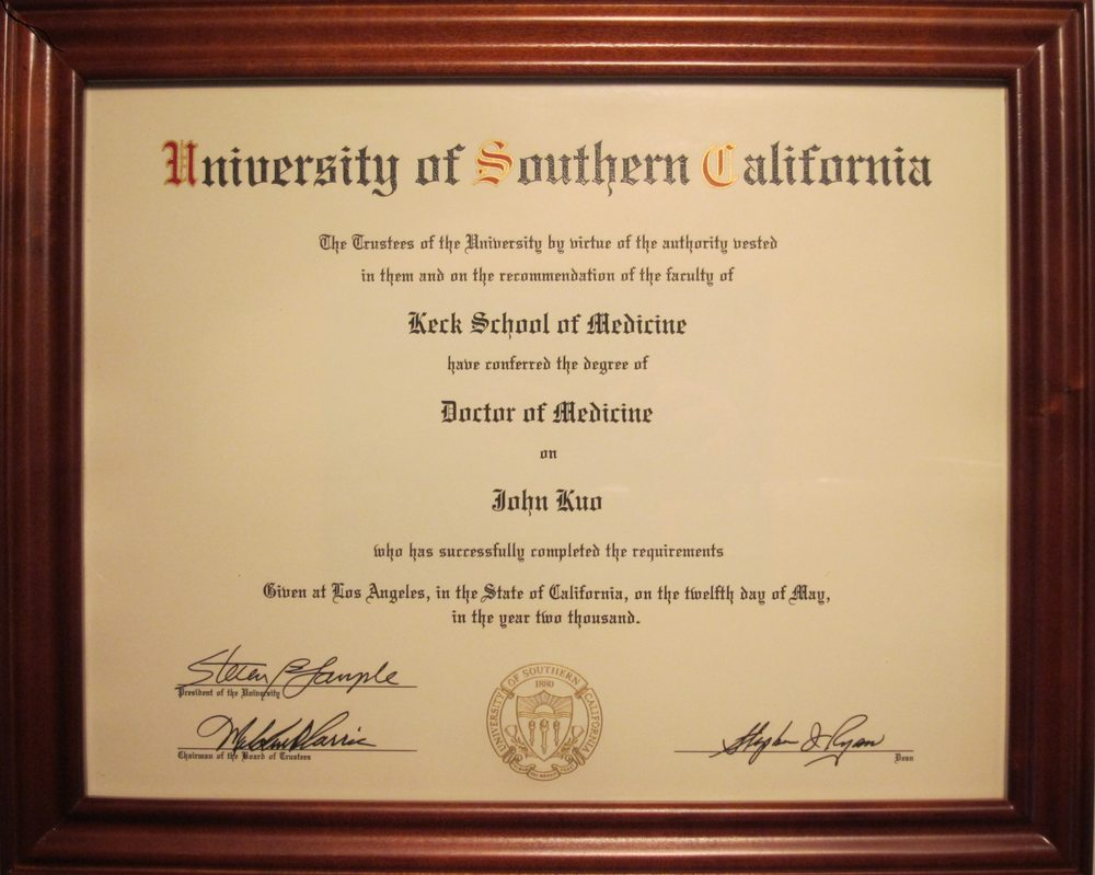 Usc Medical Doctor Degree Of Obgyn For Dr John Kuo Md Phd Yelp