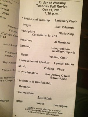 order of services for church
