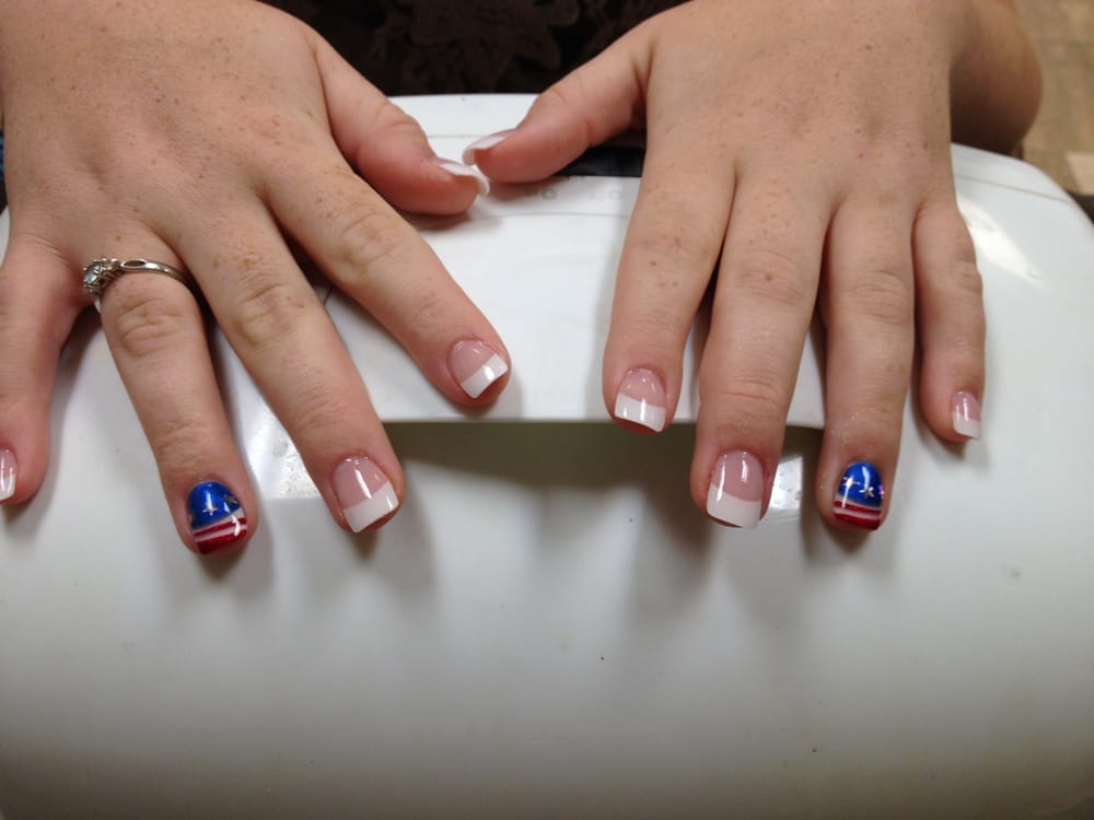 Acrylic nails with white tips and 4th of july design yelp photo of victor nails tan jasper ga united states acrylic nails prinsesfo Image collections