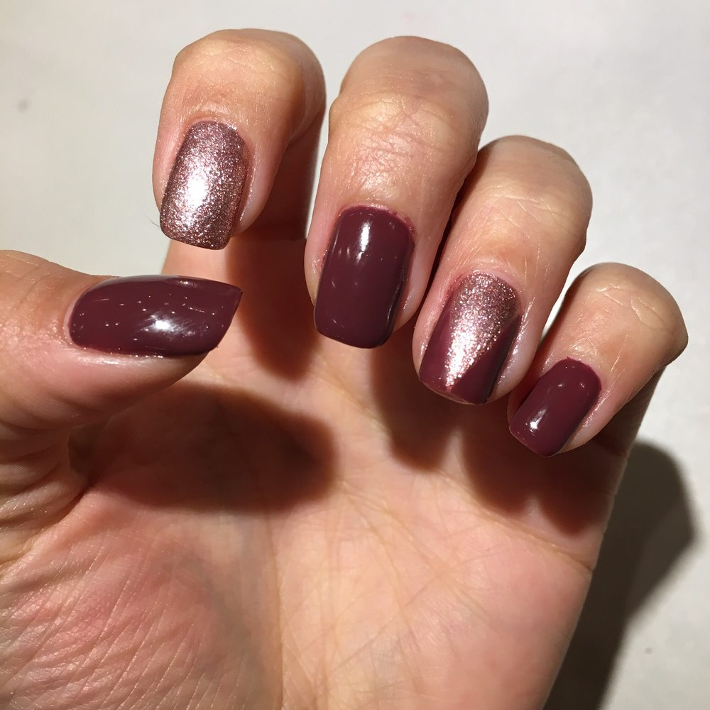Maroon nails with rose gold my favorite - Yelp