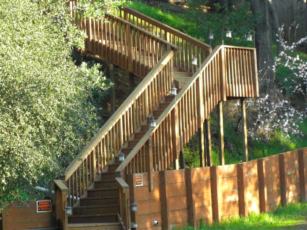 Redwood Stairs And Railing With Pressure Treated Retaining