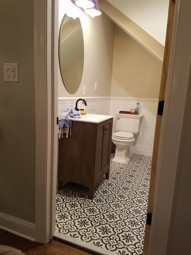 Floor Tile Installation In Powder Room Yelp